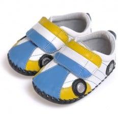 CAROCH - Chaussures premiers pas cuir souple | Baskets voiture bleu jaune
