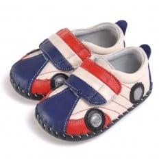 CAROCH - Zapatos de bebe primeros pasos de cuero niños | Zapatillas de deporte Coche azul y rojo