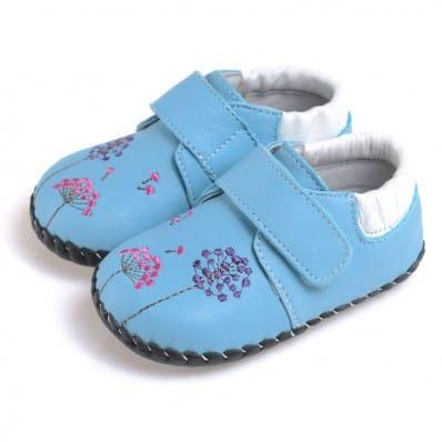 CAROCH - Krabbelschuhe Babyschuhe Leder - Mädchen | Blau mit blumen