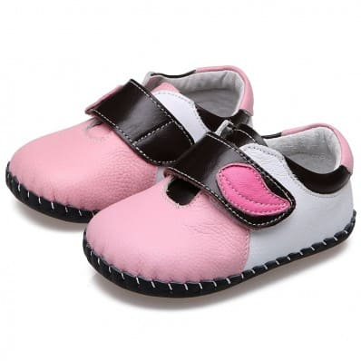 CAROCH - Baby girls first steps soft leather shoes | Pink with pink leaf