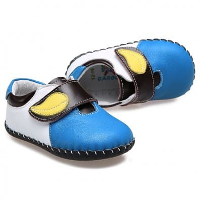 CAROCH - Baby boys first steps soft leather shoes | Blue with yellow leaf