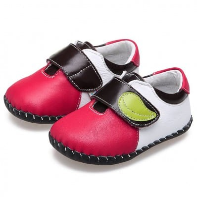 CAROCH - Chaussures premiers pas cuir souple | Rouge feuille verte