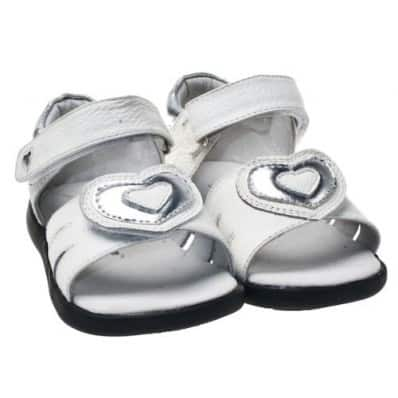 Little Blue Lamb - Krabbelschuhe Babyschuhe Leder - Mädchen | Sandalen weißes großes Herz