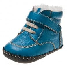 Little Blue Lamb - Chaussures premiers pas cuir souple | Bottines fourrées bleu