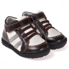 CAROCH - Krabbelschuhe Babyschuhe  Leder - Jungen | Marone und weiß stiefel