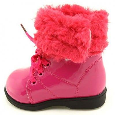 FREYCOO - Krabbelschuhe Babyschuhe Leder - Mädchen | Pink gefüllte stiefel