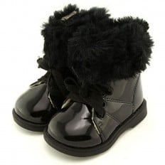 FREYCOO - Zapatos de suela de goma blanda niñas | Montantes forradas negras