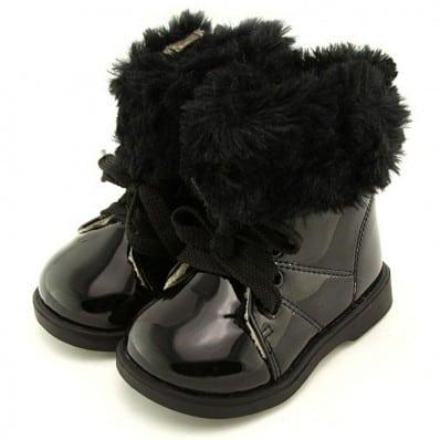 FREYCOO - Chaussures semelle souple | Montantes fourrées noir brillant