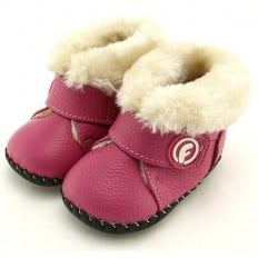 FREYCOO - Baby girls first steps soft leather shoes | Pink filled bootees