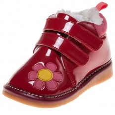 Little Blue Lamb -  Squeaky Leather Toddler Girls Shoes | Red shinny bootees pink flower