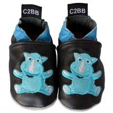 Krabbelschuhe Babyschuhe geschmeidiges Leder - Junge | Baby rhino