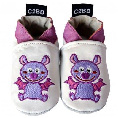 Chaussons de bébé cuir souple brodé | Chauve-souris