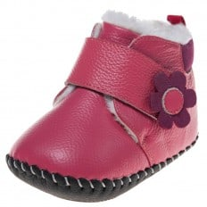 Little Blue Lamb - Baby girls first steps soft leather shoes | Pink bootees with fushia flower