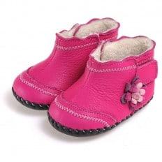 CAROCH - Krabbelschuhe Babyschuhe Leder - Mädchen | Gefüllte stiefel rosa mit fushia blume