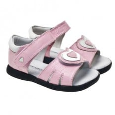 Little Blue Lamb - Soft sole girls Toddler kids baby shoes | Pink sandals big heart