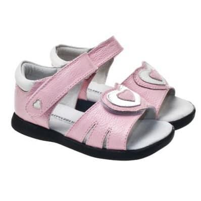 Little Blue Lamb - Chaussures semelle souple | Sandales rose gros coeur