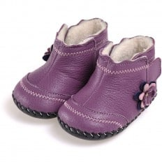 CAROCH - Baby girls first steps soft leather shoes | Purple filled bootees with Purple flower