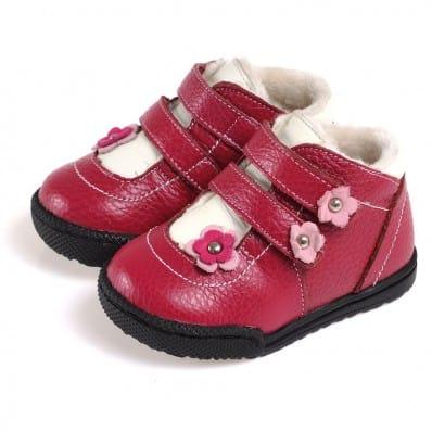 CAROCH - Krabbelschuhe Babyschuhe Leder - Mädchen | Gefüllte stiefel mit 2 scratchs