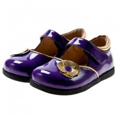 Little Blue Lamb - Zapatos de suela de goma blanda niñas | Morado brillando flor dorada plateado