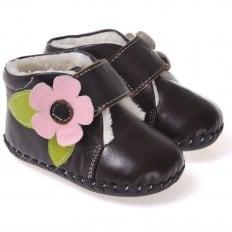 CAROCH - Chaussures premiers pas cuir souple   Montantes marron fourrées fleur rose