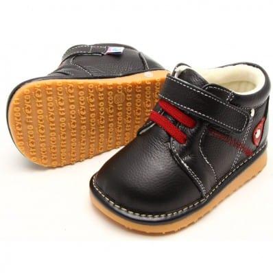 FREYCOO - Krabbelschuhe Babyschuhe squeaky Leder - Jungen | Schwarz und rot sneakers