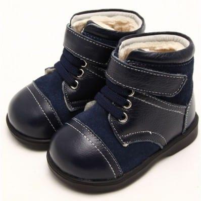 FREYCOO - Krabbelschuhe Babyschuhe Leder - Jungen   Blau und grau Halbstiefel