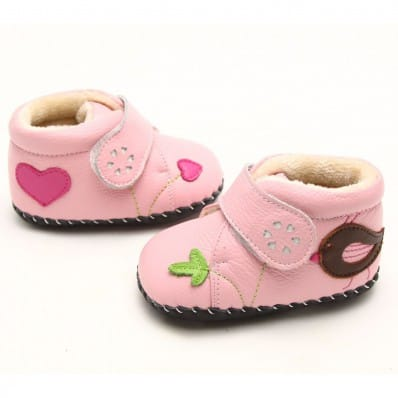 FREYCOO - Baby girls first steps soft leather shoes | Pink filled bootees with brown bird