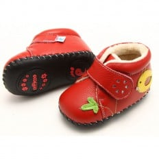 FREYCOO - Krabbelschuhe Babyschuhe Leder - Mädchen | Rot gefüllte Stiefel mit gelber vogel