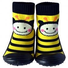 Chaussons-chaussettes enfant antidérapants semelle souple   Abeille