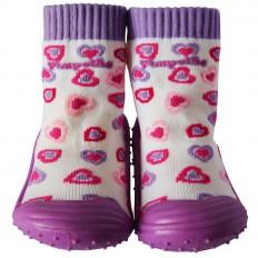 Scarpine calzini antiscivolo bambini - ragazza | Piccoli cuori viola