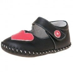 Little Blue Lamb - Baby girls first steps soft leather shoes | Black with pink heart