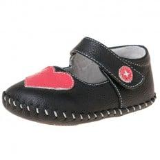 Little Blue Lamb - Chaussures premiers pas cuir souple   Noir coeur rose