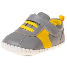 Little Blue Lamb - Baby boys first steps soft leather shoes | Grey and yellow sneakers