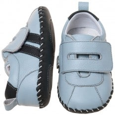 Little Blue Lamb - Baby boys first steps soft leather shoes | Blue sneakers with 2 strips
