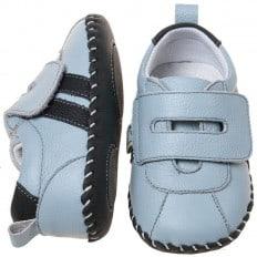 Little Blue Lamb - Zapatos de bebe primeros pasos de cuero niños | Zapatillas de deporte azules 2 fajas