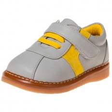 Little Blue Lamb - Squeaky Leather Toddler boys Shoes | Grey and yellow sneakers