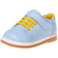 Little Blue Lamb - Squeaky Leather Toddler boys Shoes | Blue sneakers yellow laces