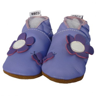 Soft leather baby shoes girls | Blue flowers