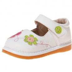 Little Blue Lamb - Chaussures à sifflet | Babies blanches fleurs fushia et vert