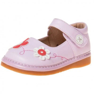Little Blue Lamb - Squeaky Leather Toddler Girls Shoes | Pink flower pink