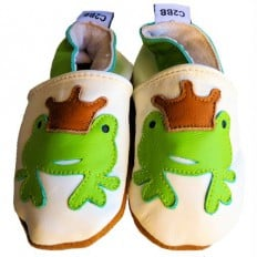 Krabbelschuhe Babyschuhe geschmeidiges Leder - Junge | Frosch Weißes