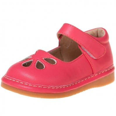 Little Blue Lamb - Squeaky Leather Toddler Girls Shoes | Dark pink model