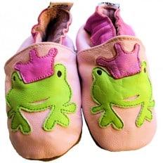 Krabbelschuhe Babyschuhe geschmeidiges Leder - Mädchen | Frosch pink