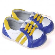 CAROCH - Soft sole boys Toddler kids baby shoes | White blue with yellow strips