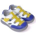 CAROCH - Chaussures semelle souple ultra résistante| Baskets blanches bleu et jaune