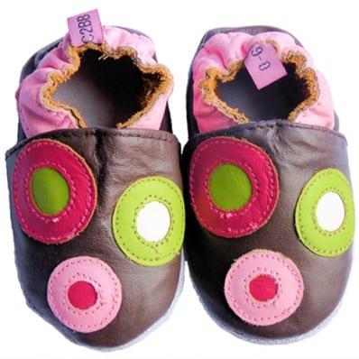 Krabbelschuhe Babyschuhe geschmeidiges Leder - Mädchen | Marone mit Kreisen