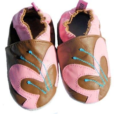 Zapitillas de bebe de cuero suave niñas antideslizante | Mariposa marrón