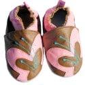 Chausson bébé cuir souple   Papillon marron