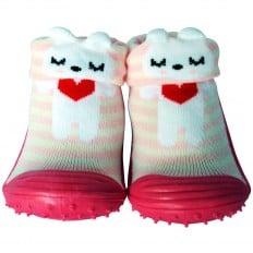 Calcetines con suela antideslizante para niñas | Pequeño corazón rojo