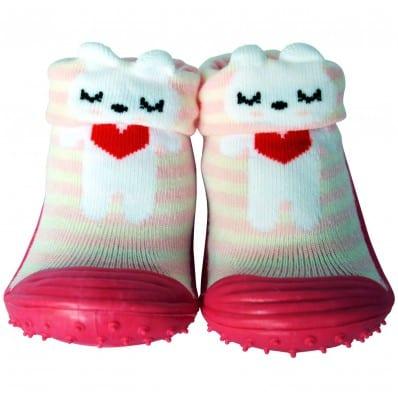 Scarpine calzini antiscivolo bambini - ragazza   Piccolo cuore rosso
